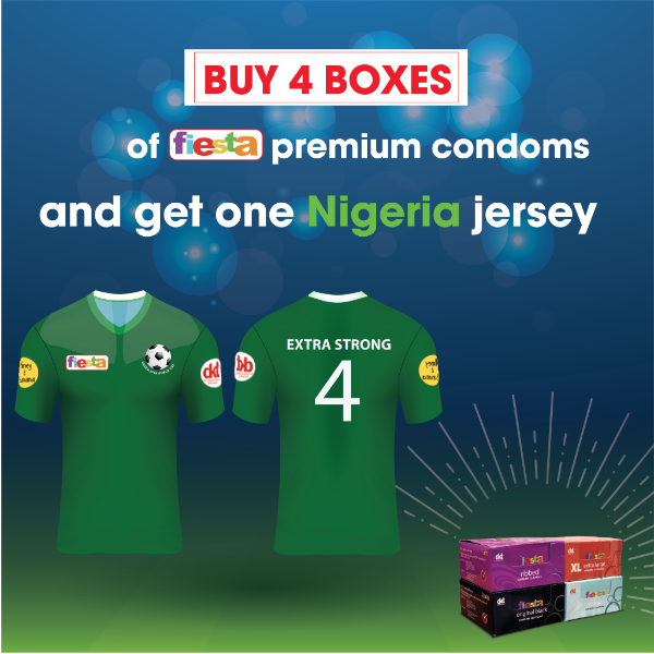 Support the Nigerian SUPER EAGLES in grand style with our customized Fiesta Nigerian jersey….